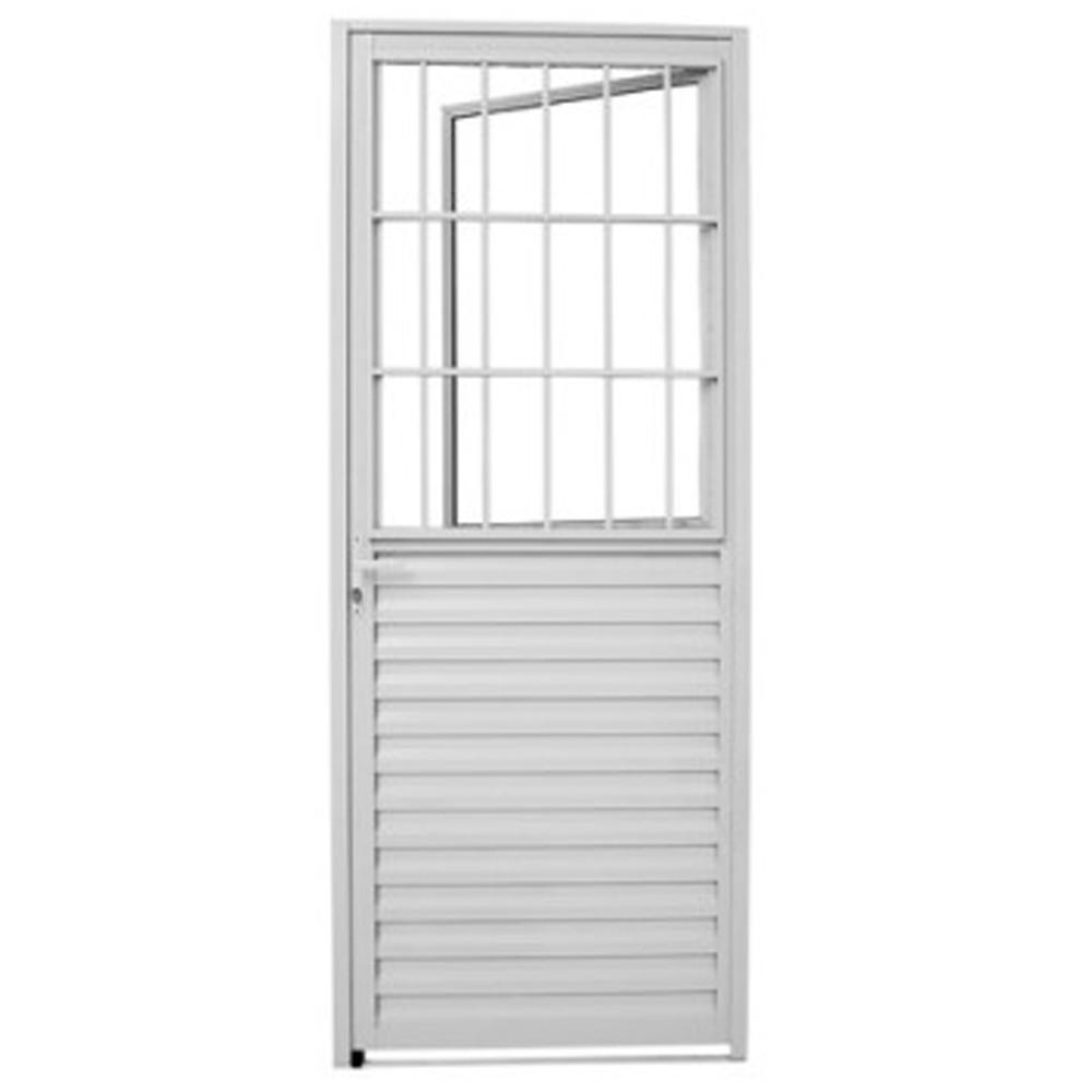 Porta de Alumínio Branco Social 2,10x0,80m Esquerda Esquadriart