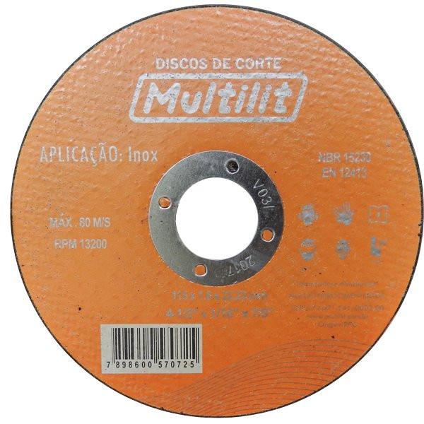 """Disco de Inox 110mm x 1/4"""" x 20mm Multilit"""