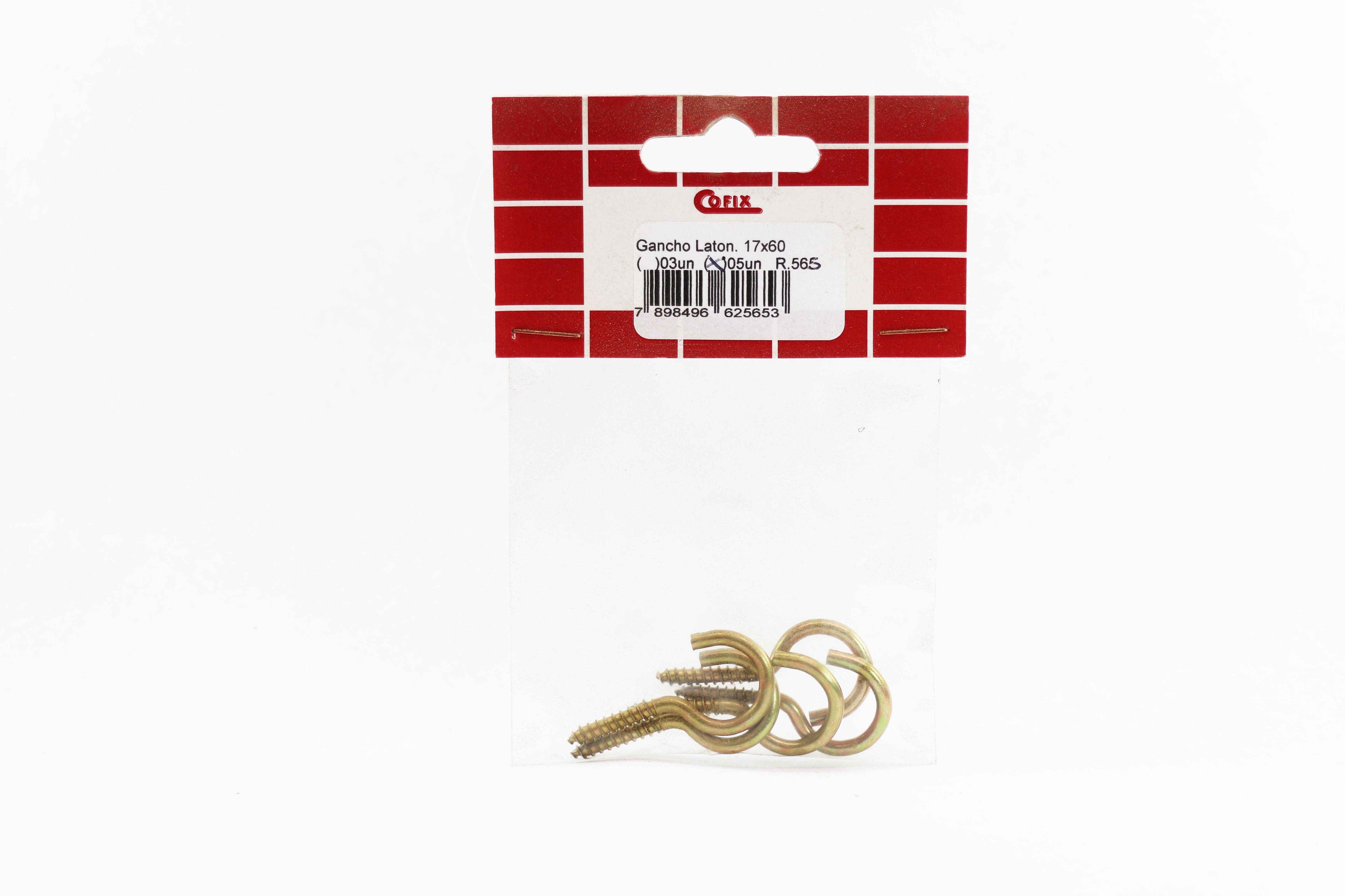 Cartela de Gancho Latonado 17x50 5un Cofix