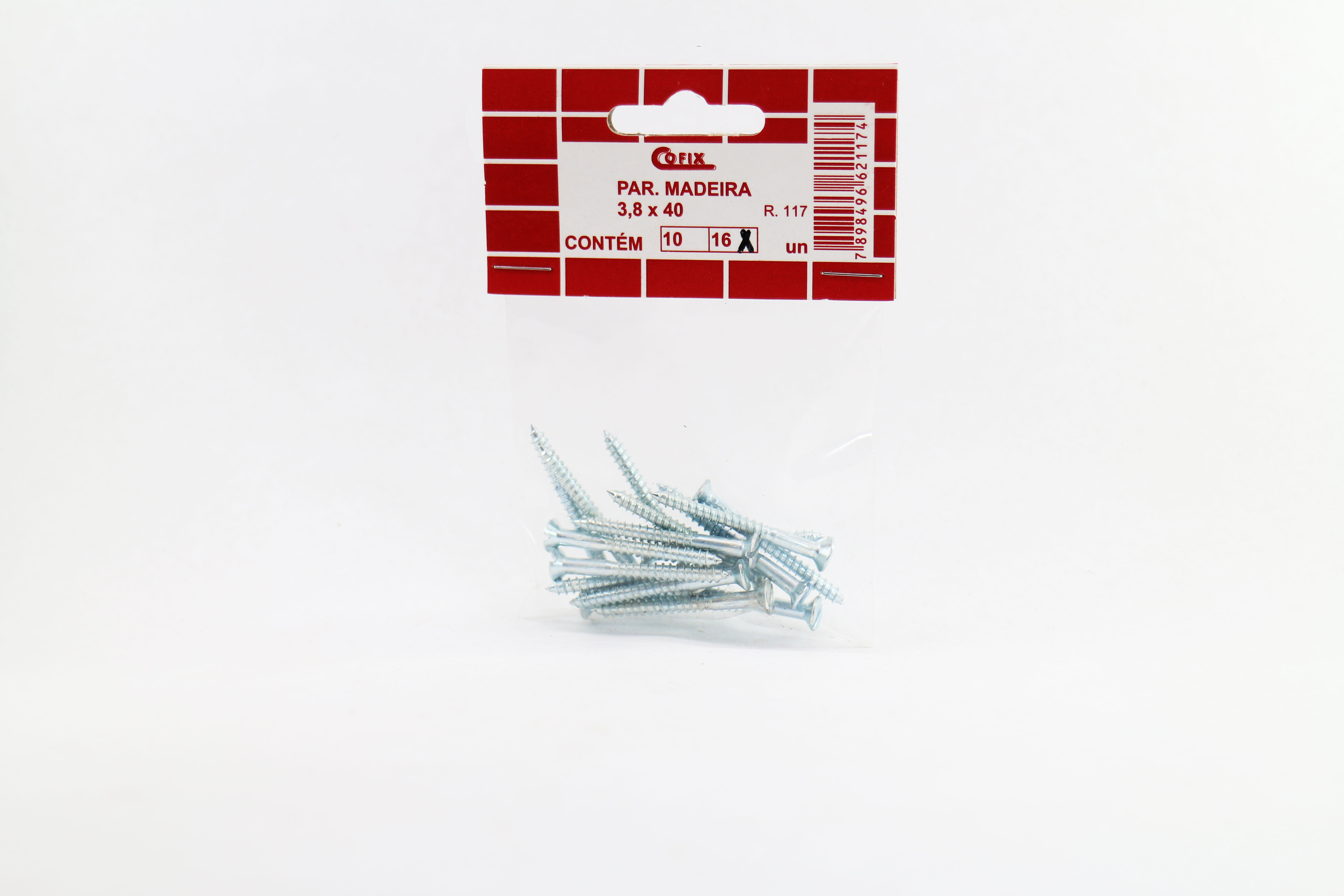 Cartela de Parafuso Madeira 3,8x40 16un Cofix