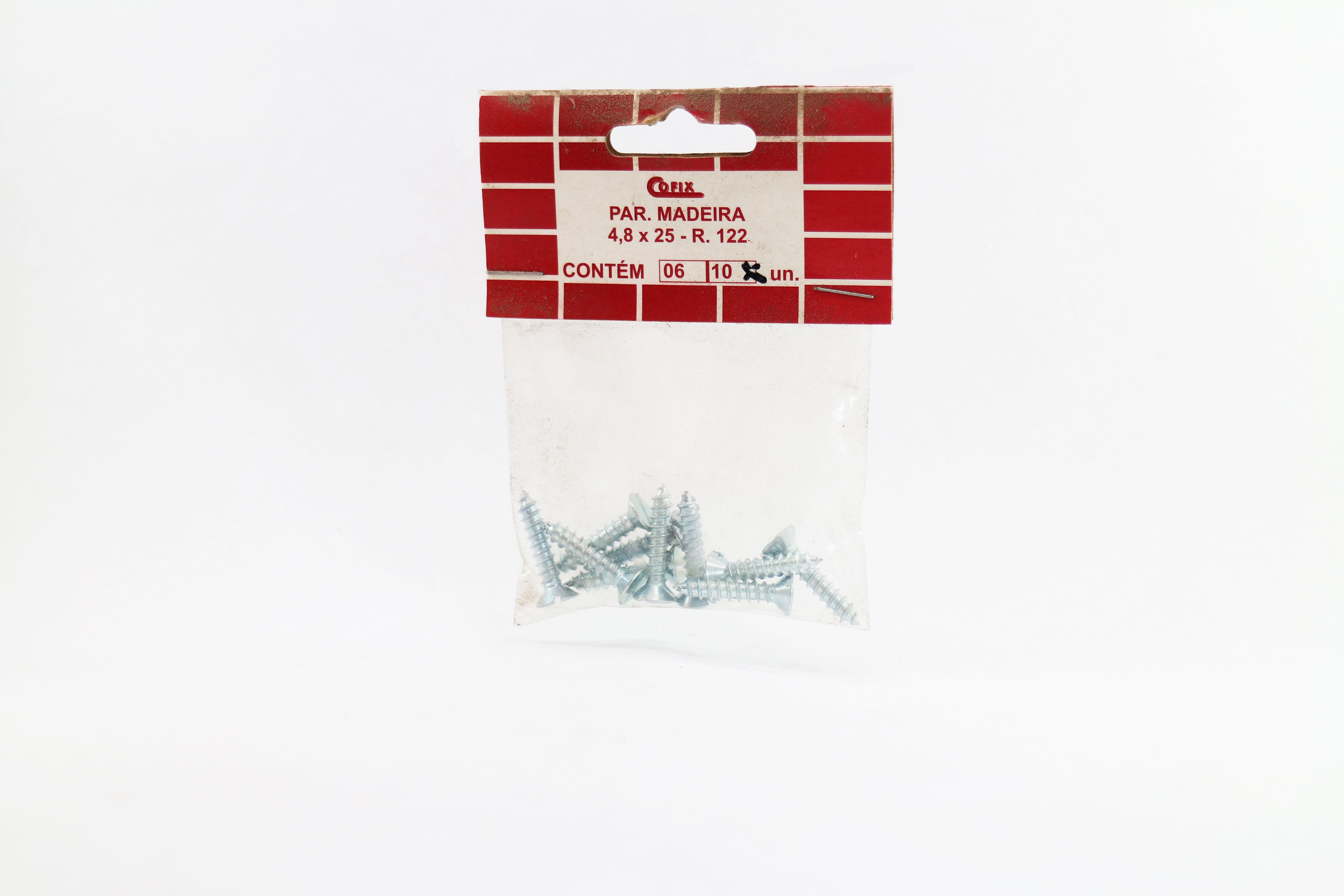 Cartela de Parafuso Madeira 4,8x25 10un Cofix