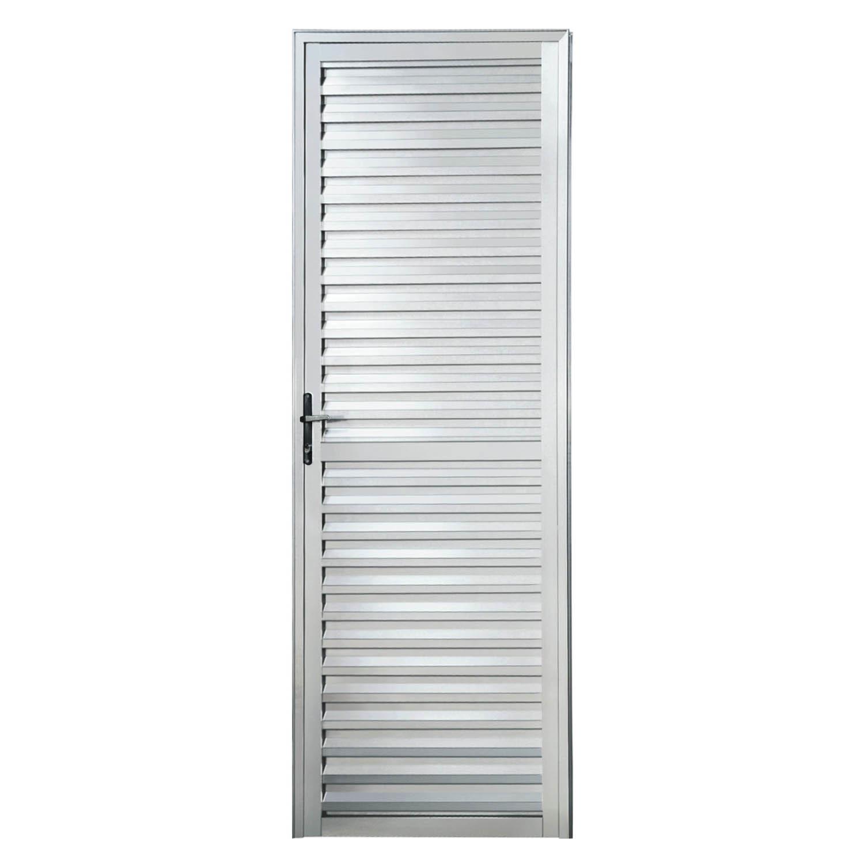 Porta de Alumínio Palheta 2,10x0,80m Direita Esquadriart