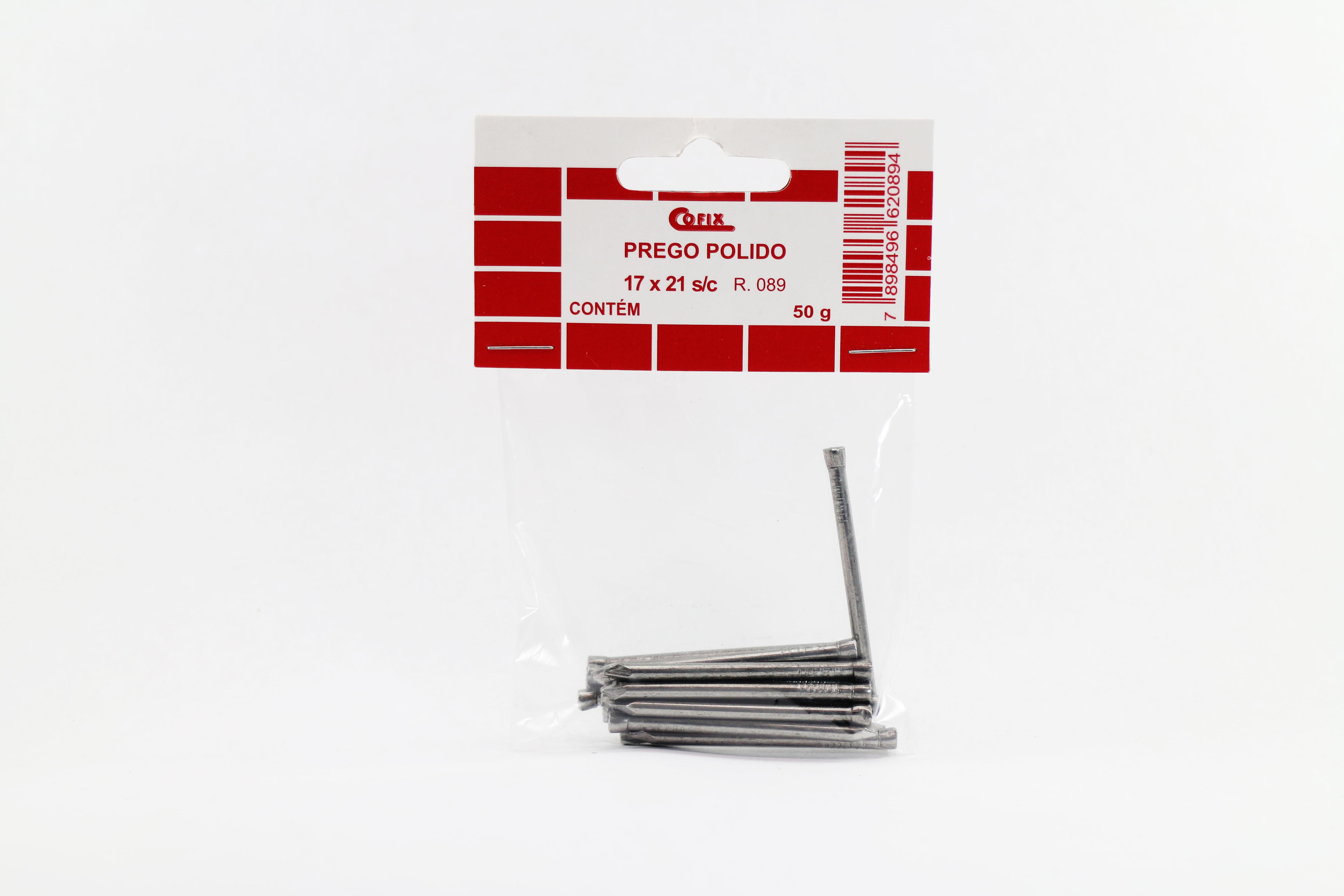 Cartela de Prego Polido sem Cabeça 17x21 50g Cofix