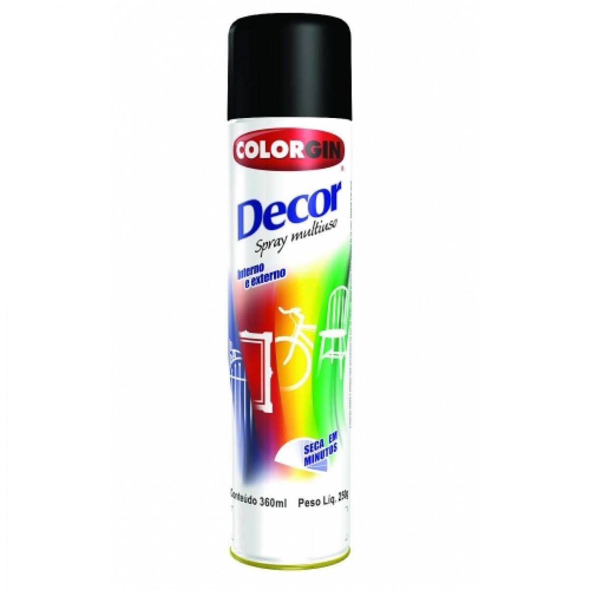 Tinta Spray Decor 350ml Preto Fosco Colorgin