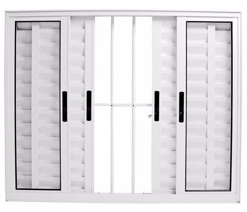 Veneziana de Alumínio 6F Branco 1,00x1,20m com Grade Esquadriart