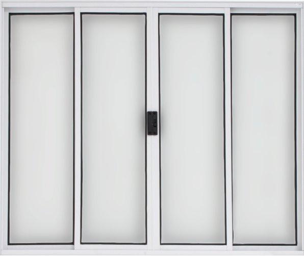 Vitrô Alumínio 4F Branco 1,00x1,20m sem Basculante sem Grade Esquadriart