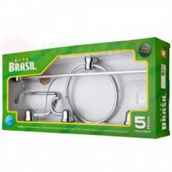 Kit Acessórios Banheiro 5 peças Cromado Brasil